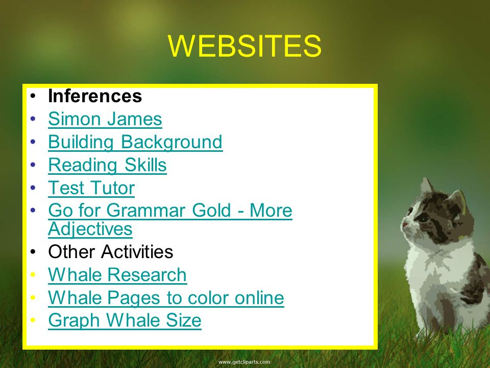 WEBSITES Inferences Simon James Building Background Reading Skills