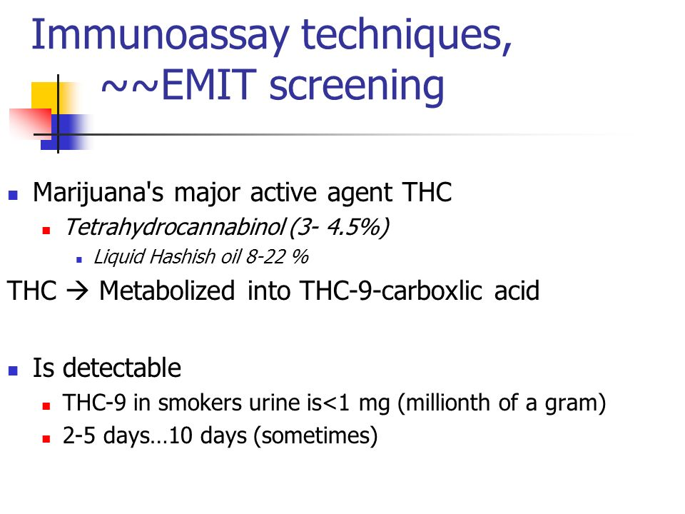 Immunoassay techniques, ~~EMIT screening