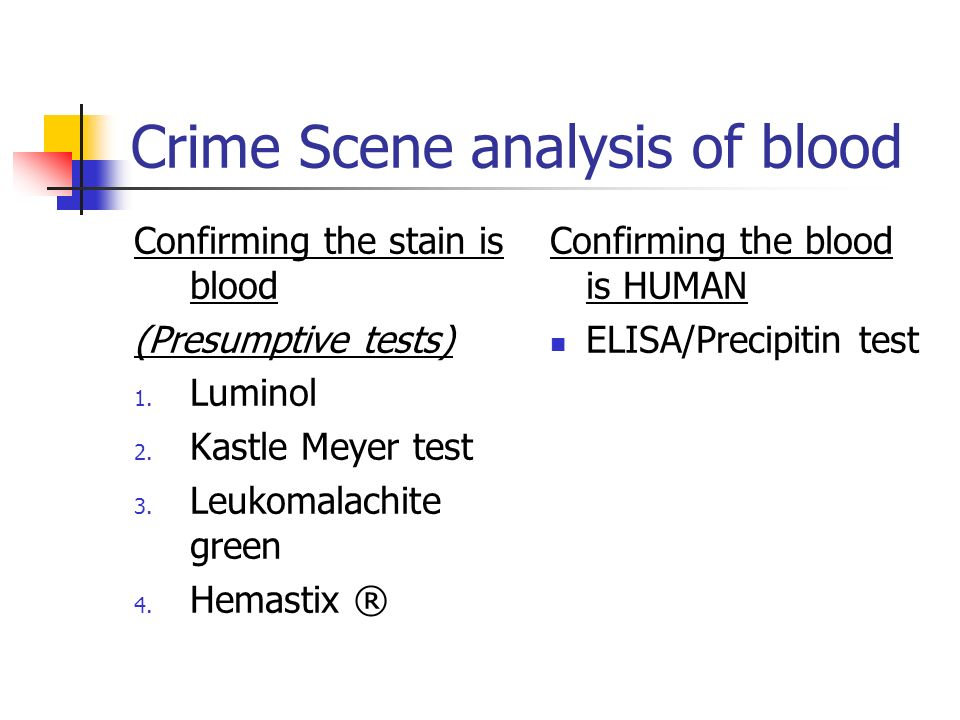 Crime Scene analysis of blood