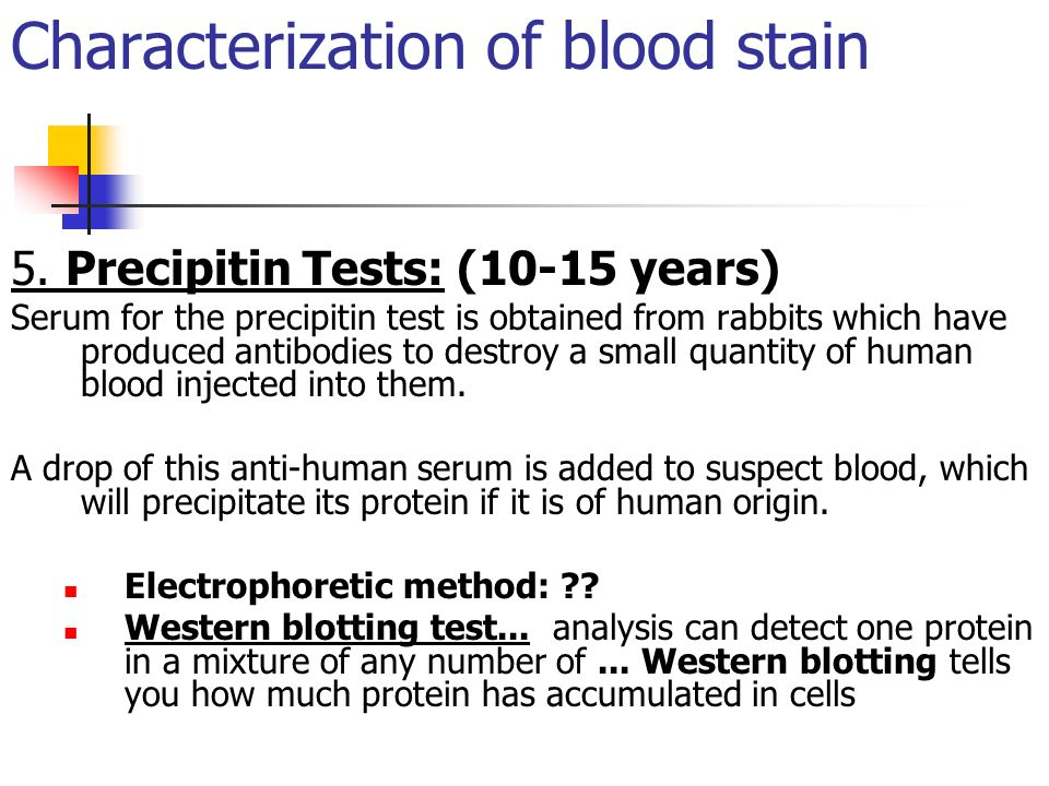Characterization of blood stain