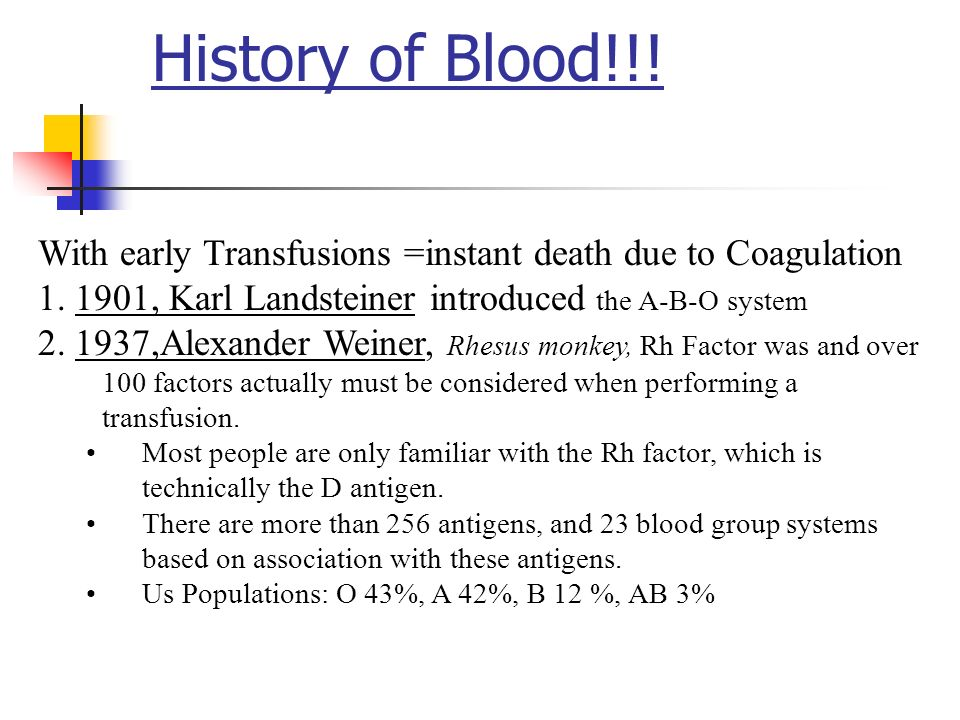 History of Blood!!! With early Transfusions =instant death due to Coagulation , Karl Landsteiner introduced the A-B-O system.