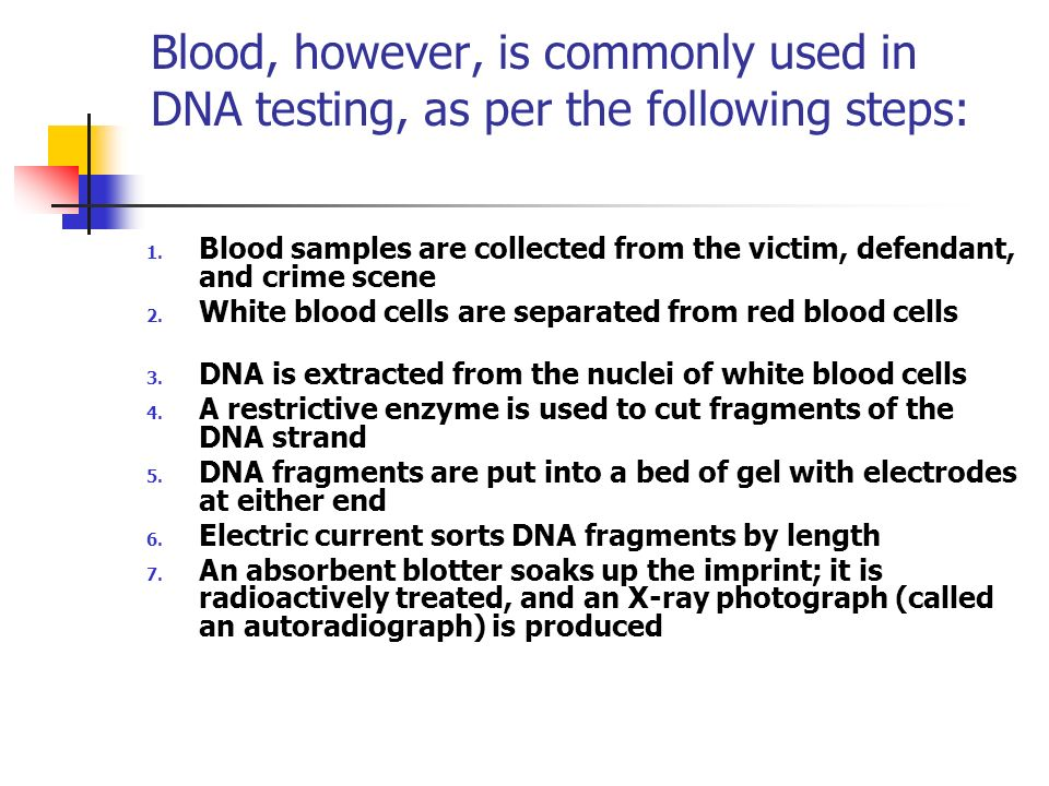 Blood, however, is commonly used in DNA testing, as per the following steps: