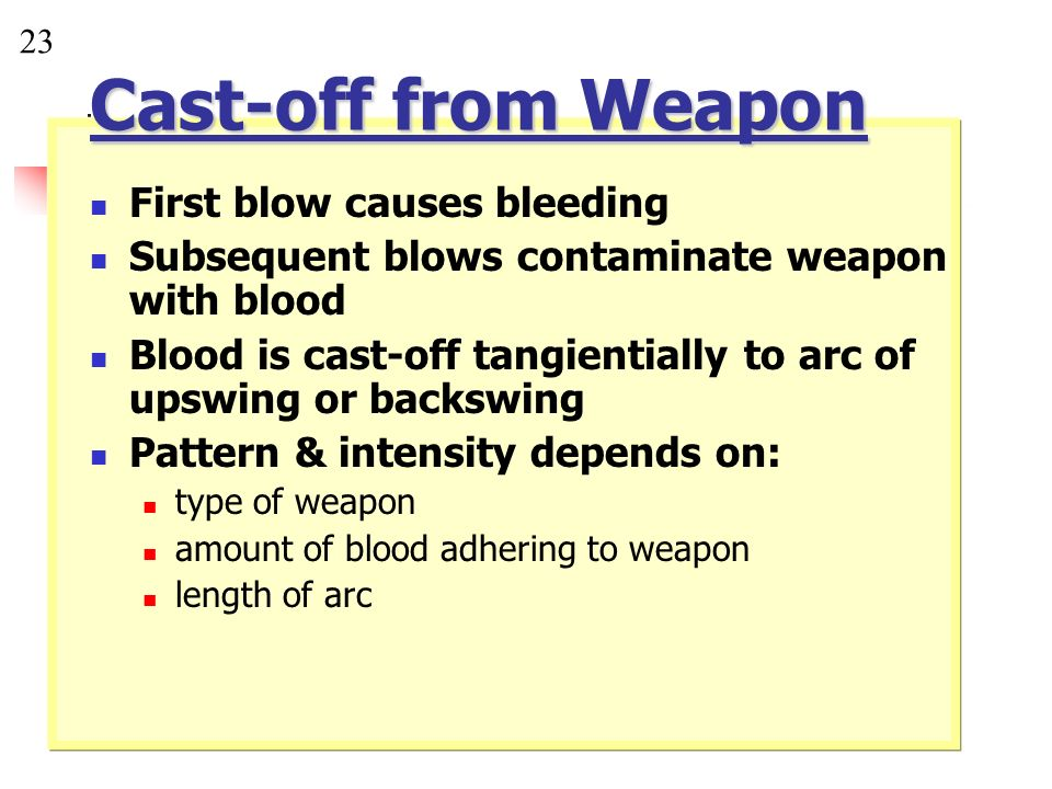 Cast-off from Weapon First blow causes bleeding