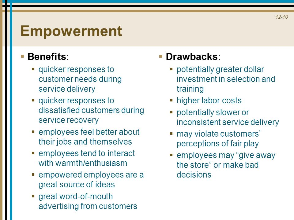 Empowerment Benefits: Drawbacks: