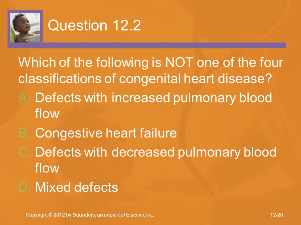 Question 12.2 Which of the following is NOT one of the four classifications of congenital heart disease