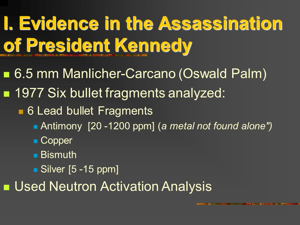 I. Evidence in the Assassination of President Kennedy