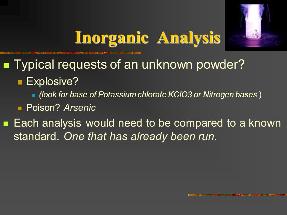 Inorganic Analysis Typical requests of an unknown powder Explosive
