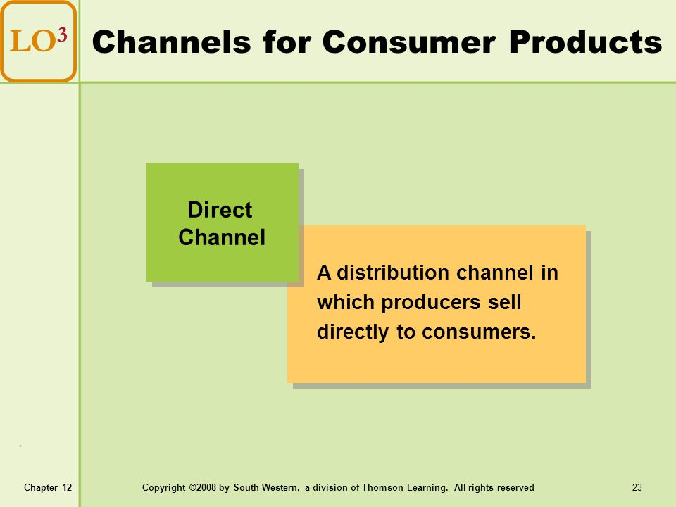 Channels for Consumer Products
