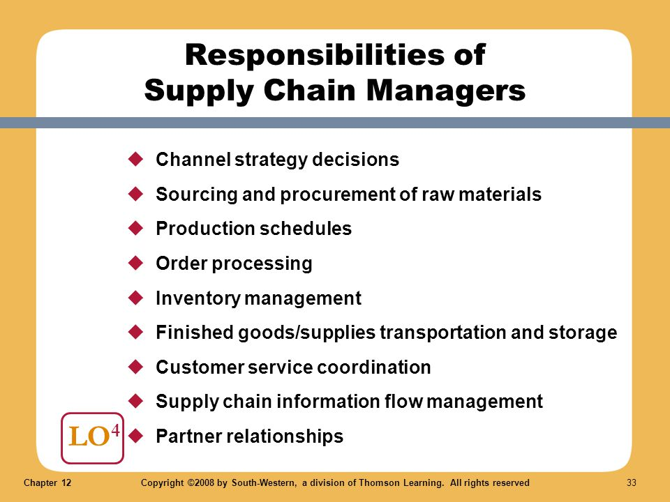 Responsibilities of Supply Chain Managers