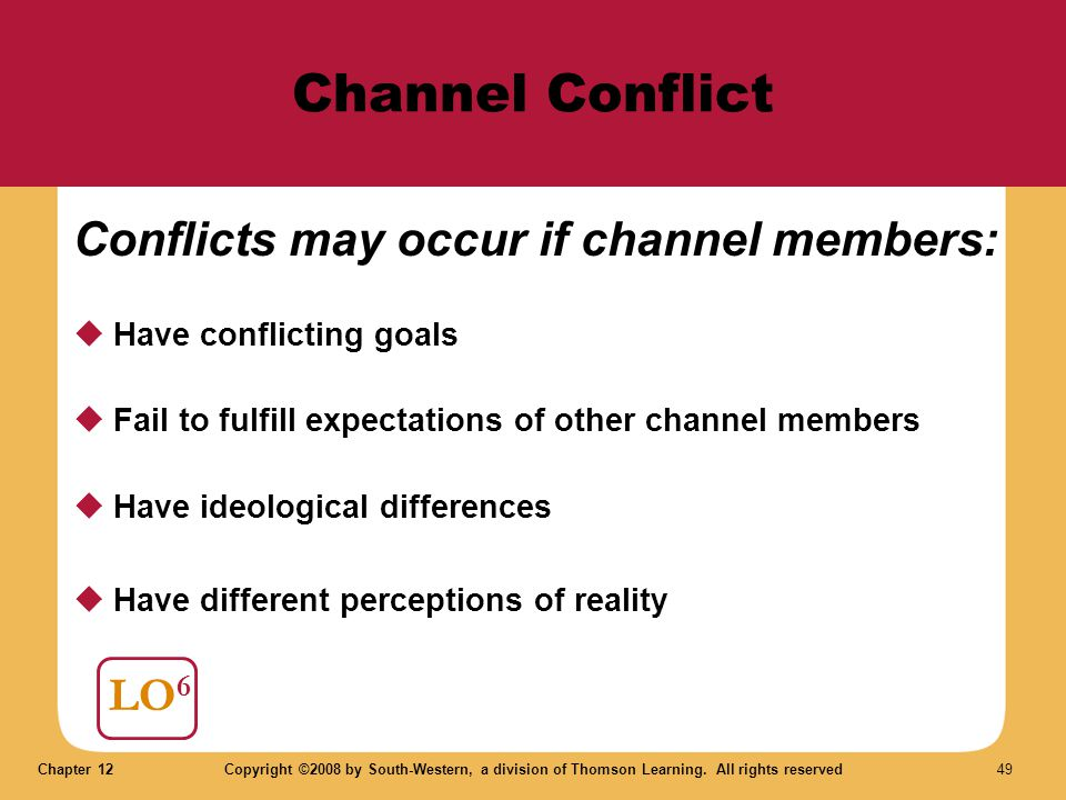 Channel Conflict Conflicts may occur if channel members: LO6
