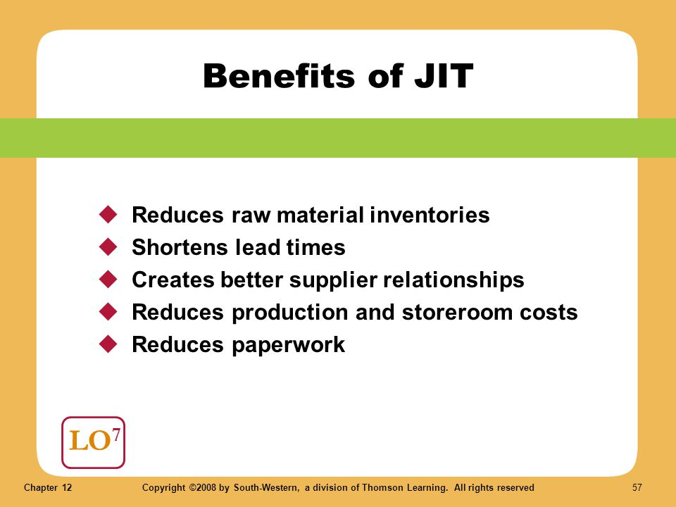 Benefits of JIT LO7 Reduces raw material inventories