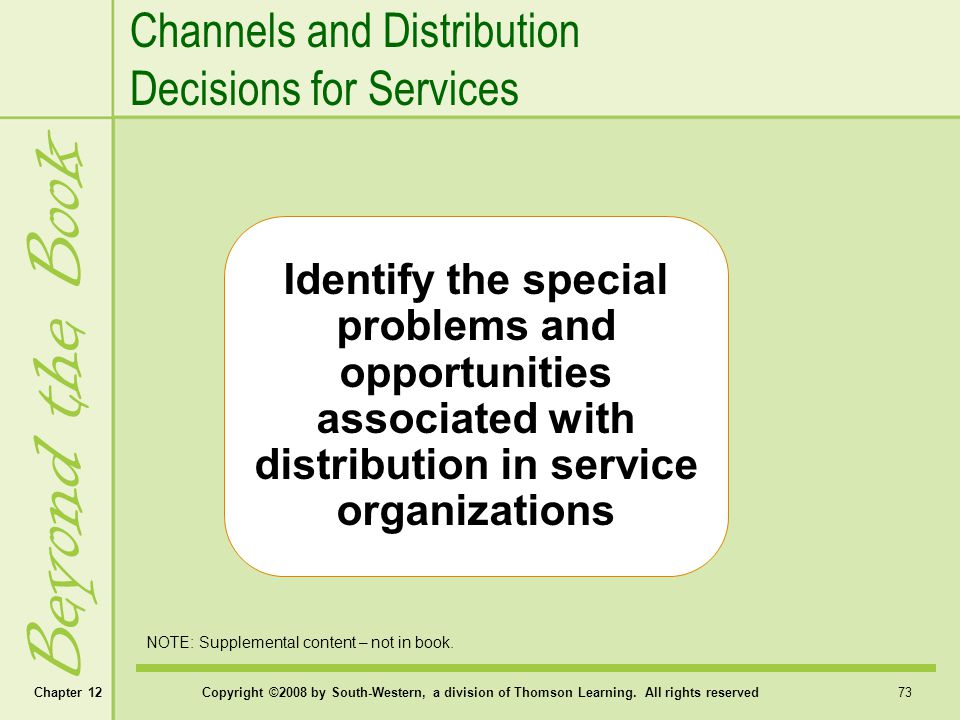 Beyond the Book Channels and Distribution Decisions for Services
