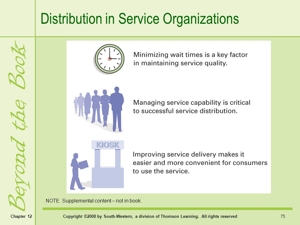 Beyond the Book Distribution in Service Organizations