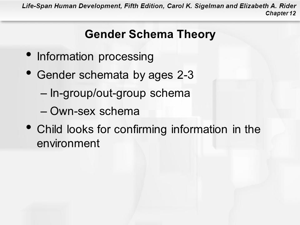 Gender Schema Theory Information processing. Gender schemata by ages 2-3. In-group/out-group schema.