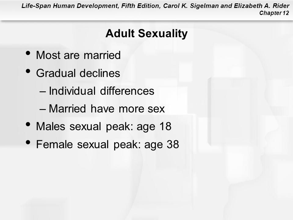 Adult Sexuality Most are married. Gradual declines. Individual differences. Married have more sex.