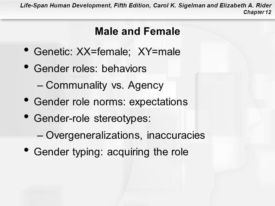 Male and Female Genetic: XX=female; XY=male. Gender roles: behaviors. Communality vs. Agency. Gender role norms: expectations.