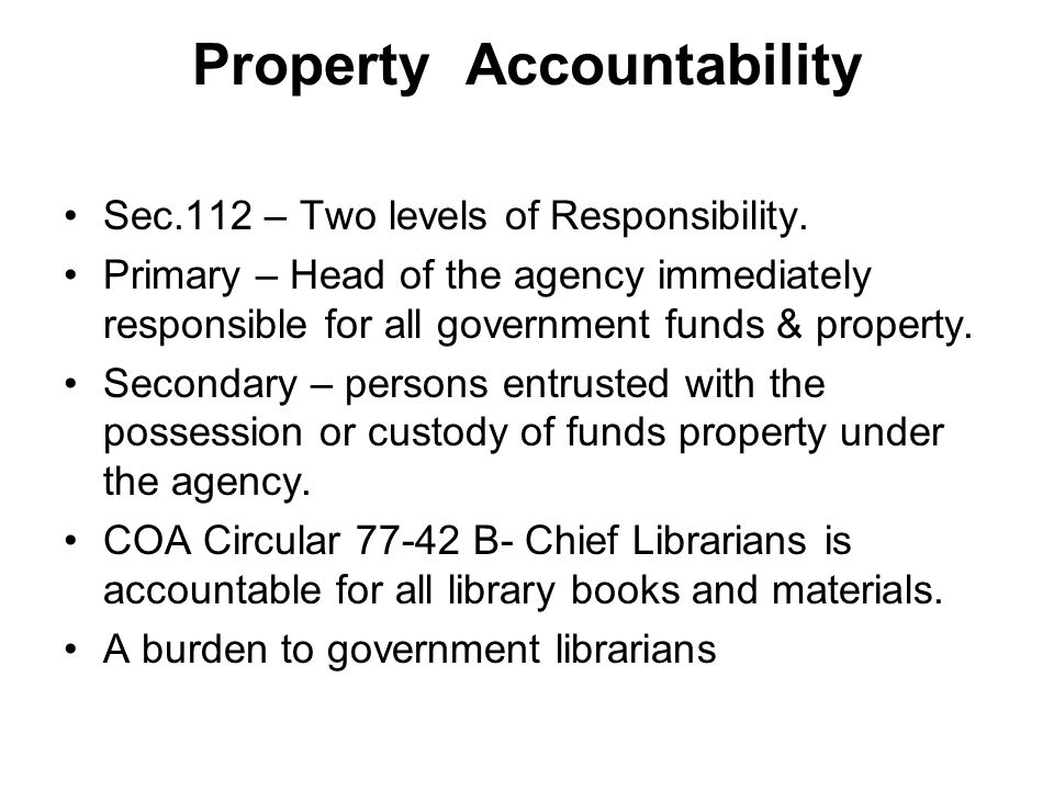Property Accountability