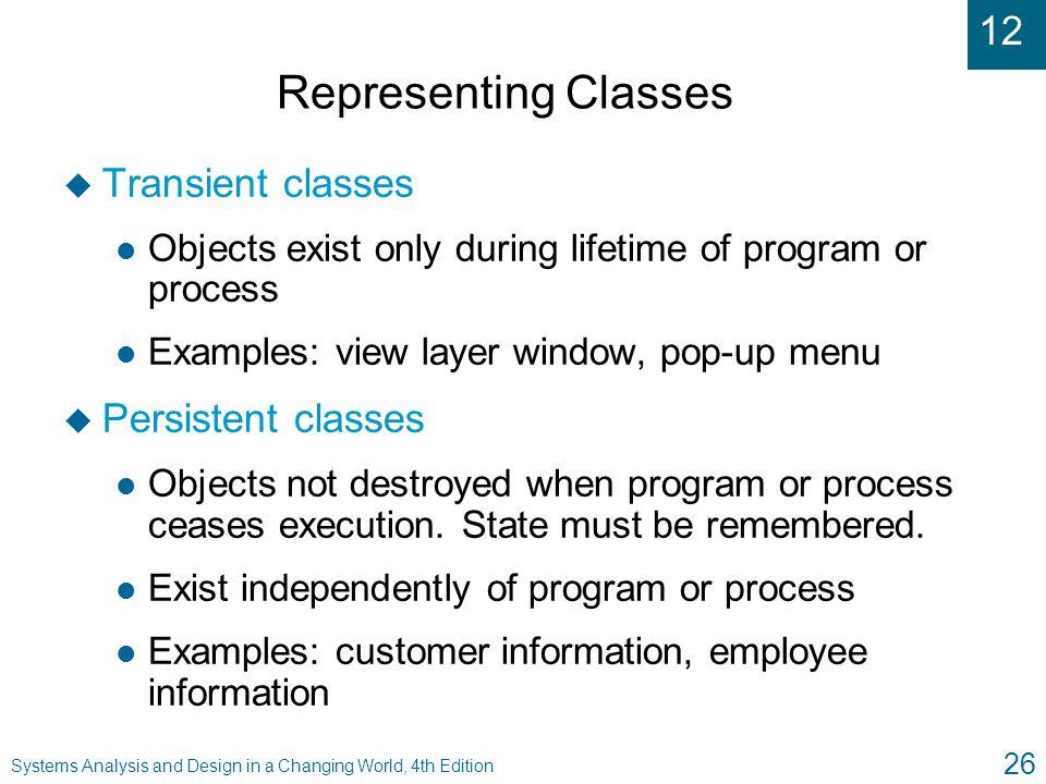 Representing Classes Transient classes Persistent classes