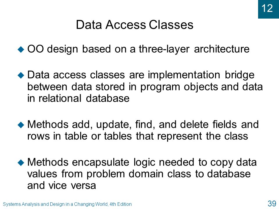 Data Access Classes OO design based on a three-layer architecture