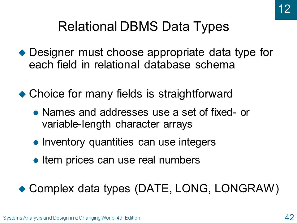 Relational DBMS Data Types