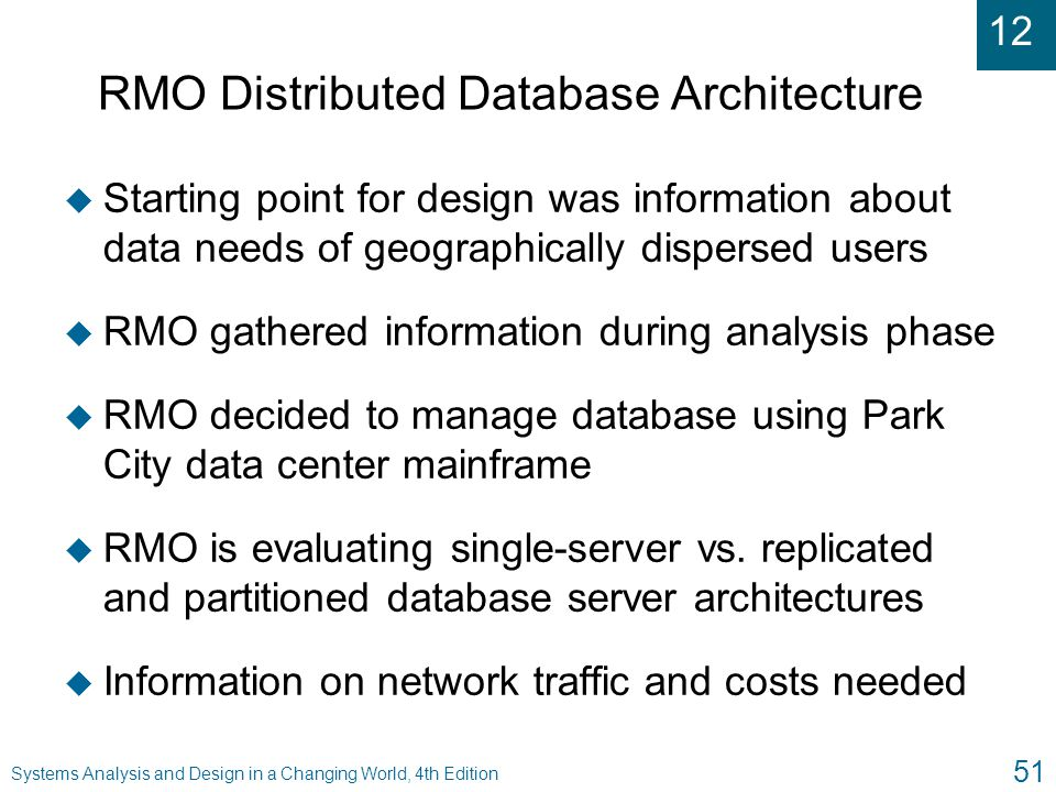 RMO Distributed Database Architecture