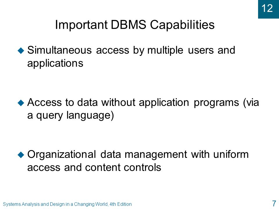 Important DBMS Capabilities