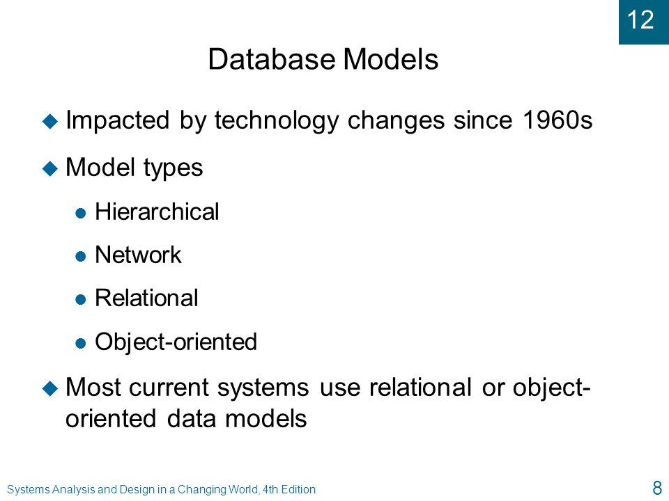 Database Models Impacted by technology changes since 1960s Model types