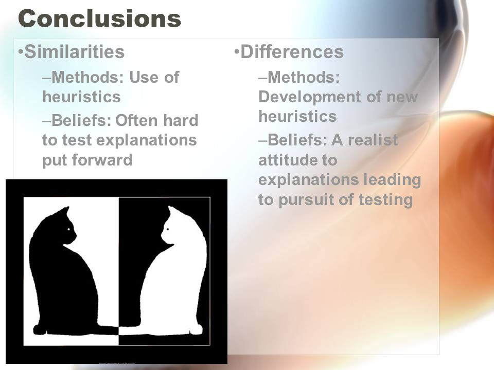 Conclusions Similarities Differences Methods: Use of heuristics