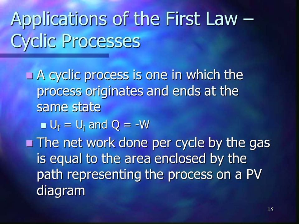 Applications of the First Law – Cyclic Processes