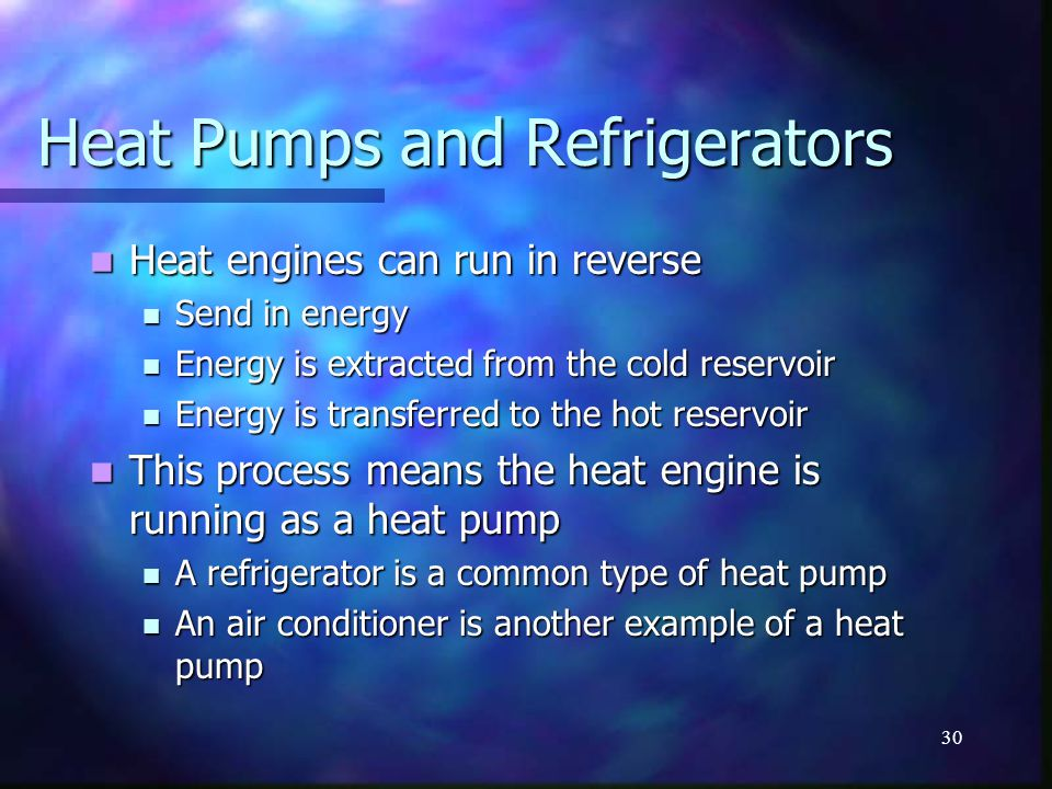 Heat Pumps and Refrigerators