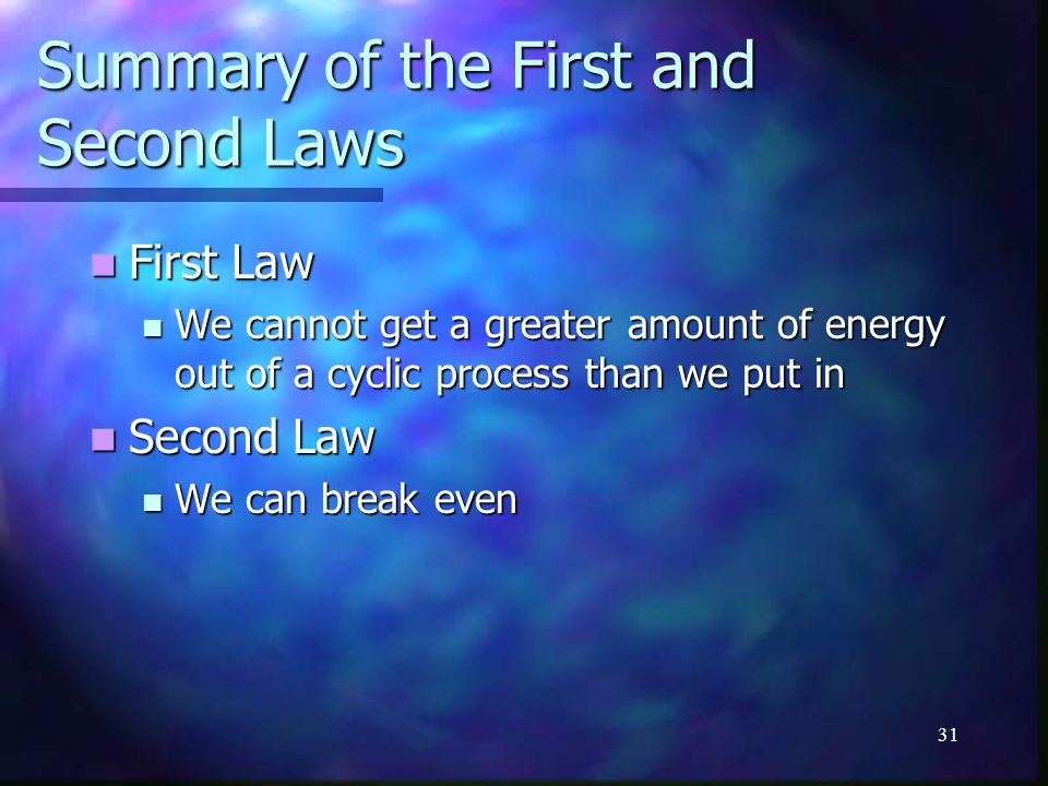 Summary of the First and Second Laws