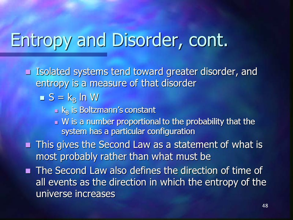Entropy and Disorder, cont.