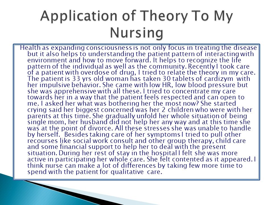 Application of Theory To My Nursing