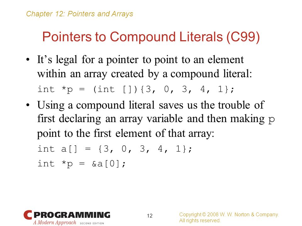 Pointers to Compound Literals (C99)