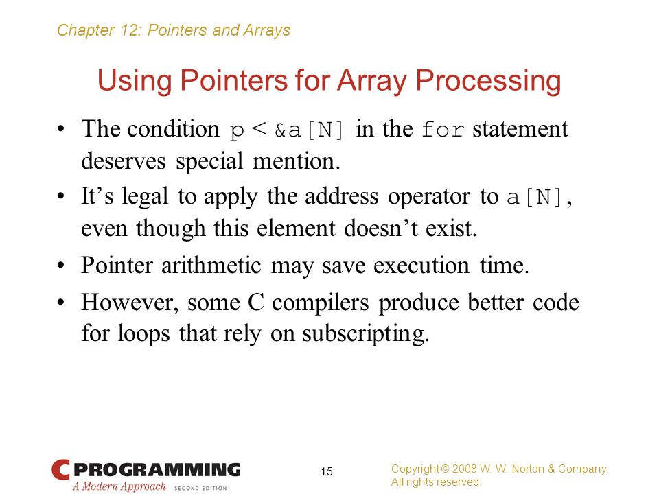 Using Pointers for Array Processing