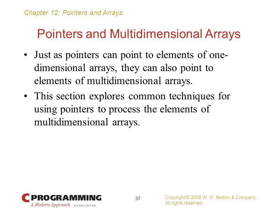 Pointers and Multidimensional Arrays