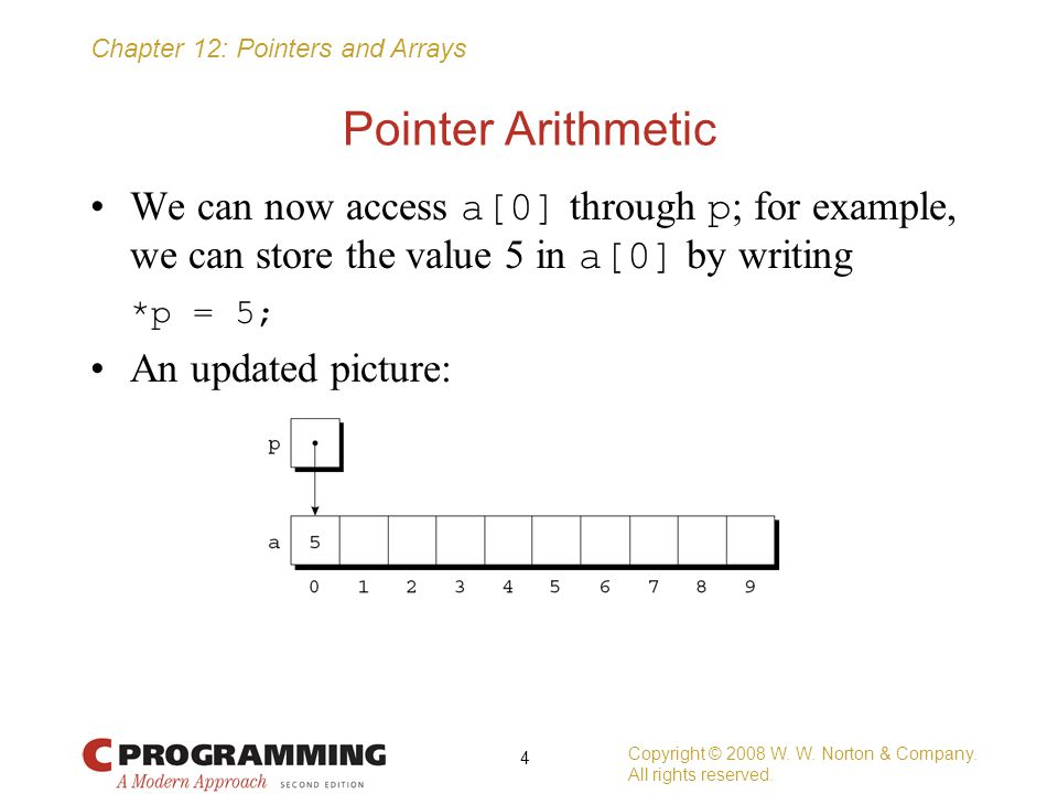 Pointer Arithmetic We can now access a[0] through p; for example, we can store the value 5 in a[0] by writing.