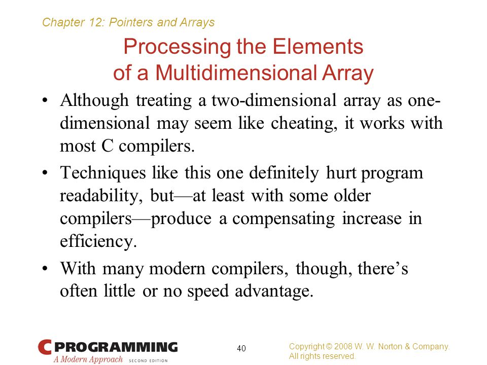 Processing the Elements of a Multidimensional Array