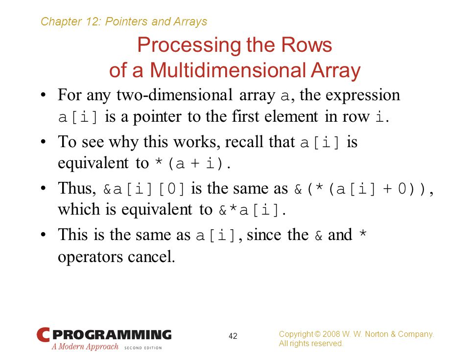 Processing the Rows of a Multidimensional Array