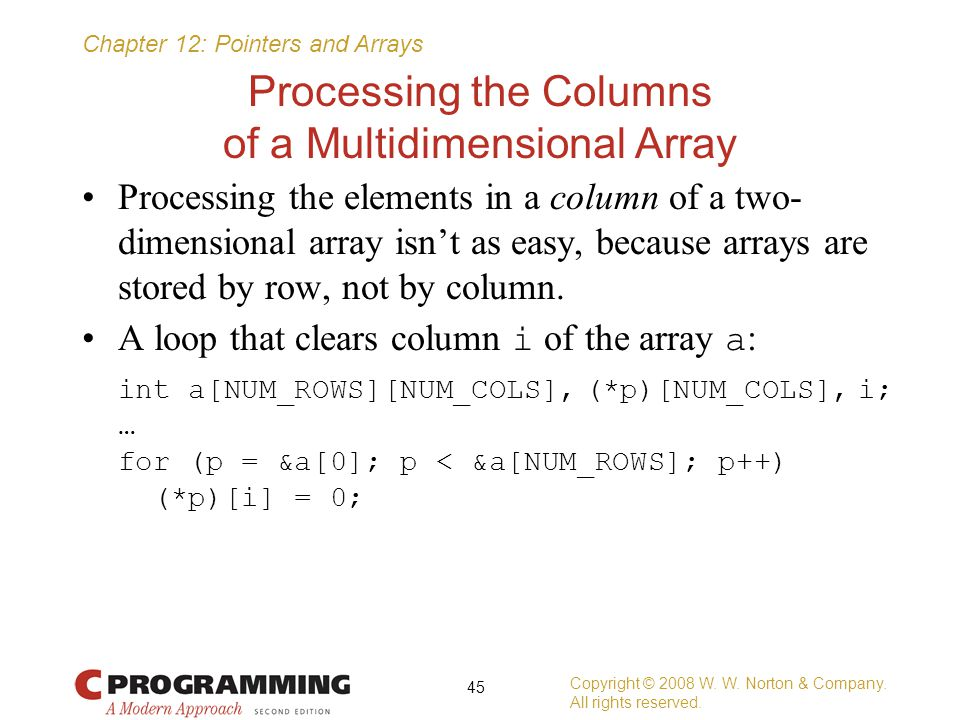 Processing the Columns of a Multidimensional Array