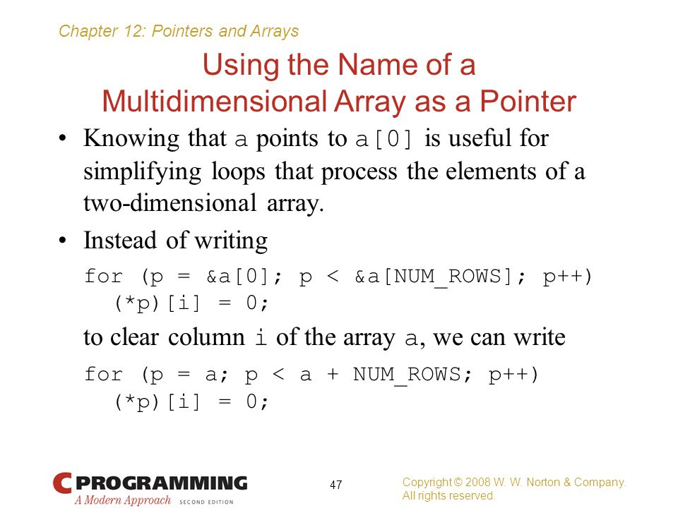 Using the Name of a Multidimensional Array as a Pointer