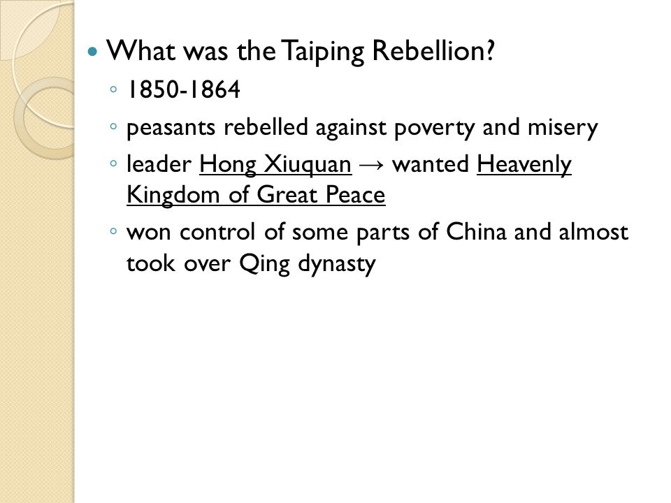 What was the Taiping Rebellion