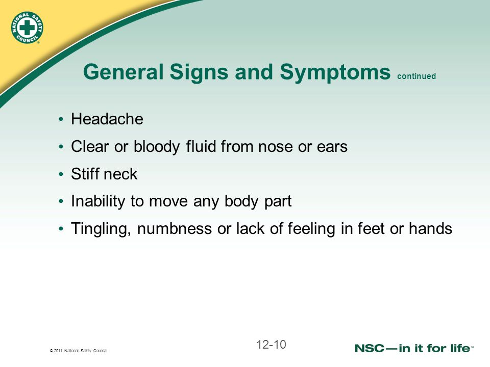 General Signs and Symptoms continued