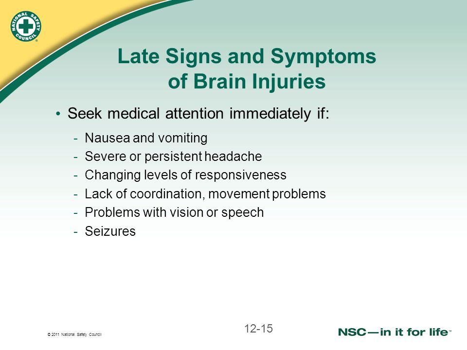 Late Signs and Symptoms of Brain Injuries