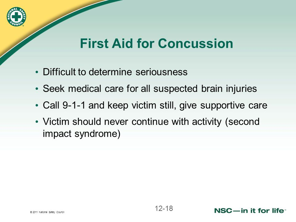 First Aid for Concussion