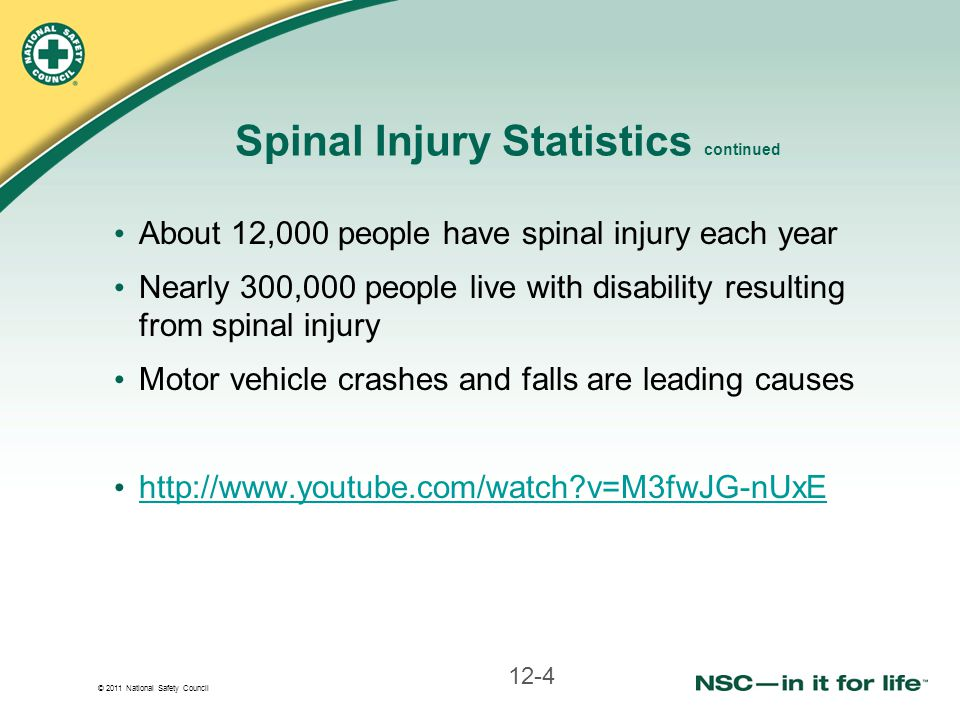 Spinal Injury Statistics continued