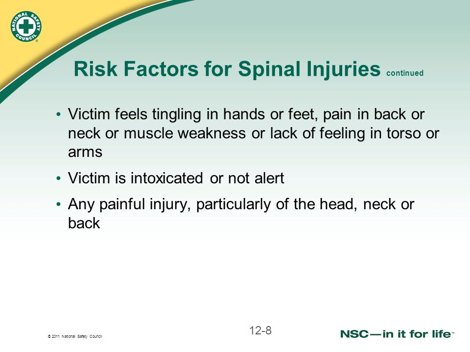 Risk Factors for Spinal Injuries continued