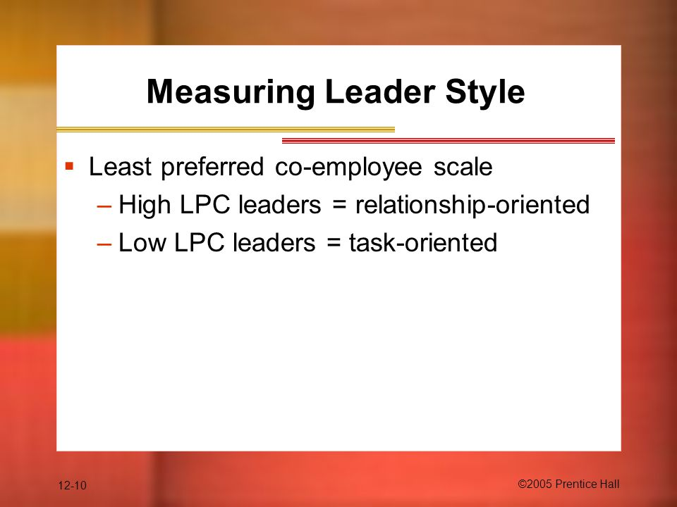 Measuring Leader Style