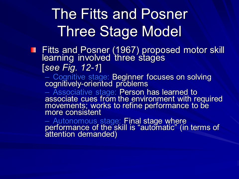 The Fitts and Posner Three Stage Model