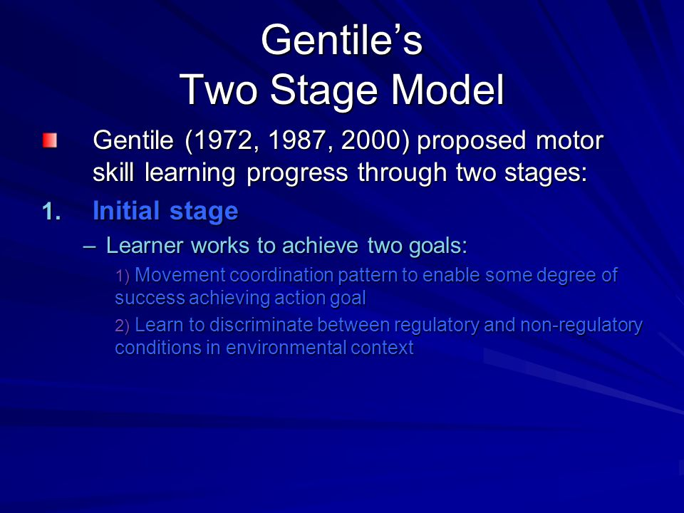 Gentile's Two Stage Model